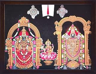 Handicraft Store Lord Balaji/Tirupati Balaji/Venkateswara/Lord Vyankatesh with Goddess Laxmi/Lakshmiji with Balaji, A Religious Poster Painting for Wealth. Prosperity Home/Office for Good Luck