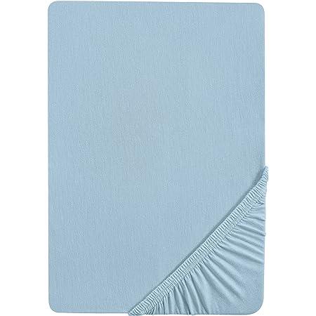 Castell 0077113 Drap-housse en jersey extensible (hauteur du matelas max.22 cm) 1x 90x190 cm - 100x200 cm, bleuâtre