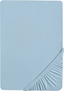 Castell 0077113 Drap housse en Jersey extensible (hauteur du matelas max.22 cm) 1x 140x200 cm > 160x200 cm, bleu
