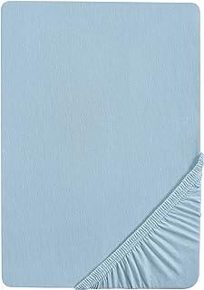 biberna 0002744 Drap housse en fin castor (hauteur du matelas max. 22 cm) (coton) 1x 60x120 cm > 70x140 cm, bleu