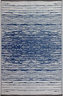 Fab Habitat Reversible, Indoor/Outdoor Weather Resistant Floor Mat/Rug Brooklyn - Blue (5' x 8')