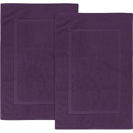 Utopia Towels - 2 alfombras de baño de algodón, (53 x 86 cm), 100% algodón Hilado en Anillos - Toalla de baño para Ducha Altamente Absorbente y Lavable a máquina (Ciruela)