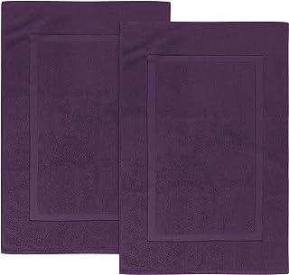 Utopia Towels Cotton Banded Bath Mats, Plum, [Not a Bathroom Rug], 21 x 34 Inches, 100%..