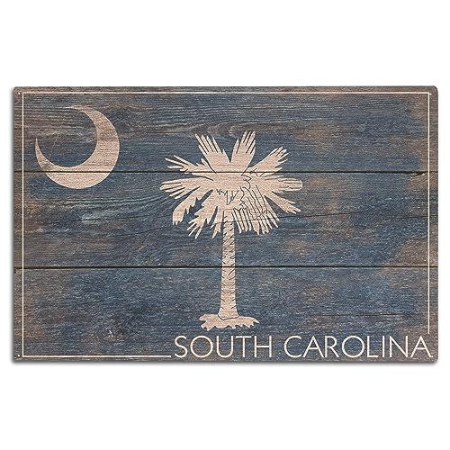 9d4a6e202e9 Lantern Press Rustic South Carolina State Flag (10x15 Wood Wall Sign