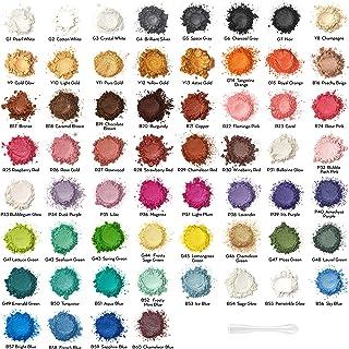 Arteza Mica Powder, Set of 60 Colors, 0.18 oz Bottles, Art Supplies for Epoxy Resin, Soap Making, Nail Polish, Bath Bombs,...