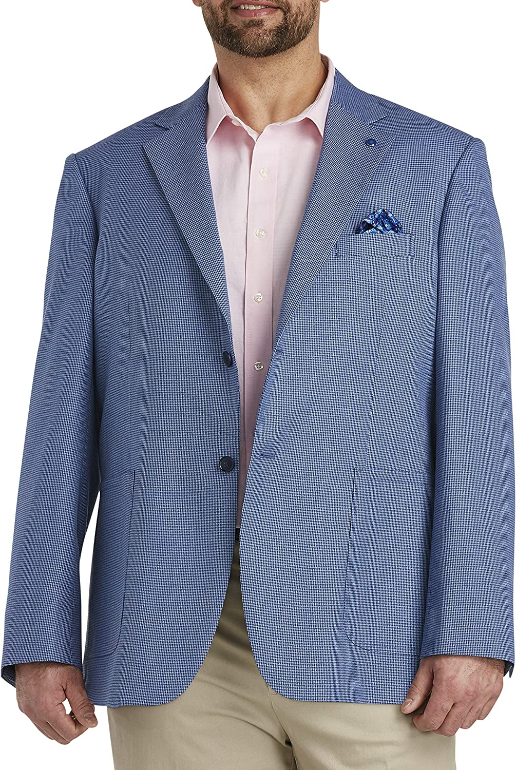 Oak Hill by DXL Big and Tall Jacket-Relaxer Patch Pocket Sport Coat, Blue