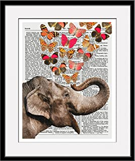 Elephant With Butterflies 11x14 Inch Reproduction Vintage Dictionary Art Print With