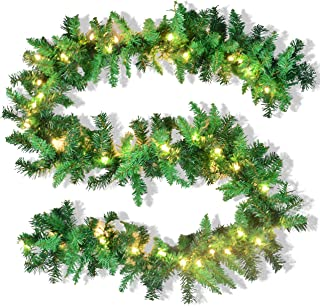 JOYIN 9 Foot by 10 Inch Artificial Christmas Garland Prelit with 50 UL Listed Warm Clear Lights