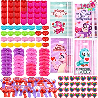 140 Pcs Valentines Day Stationery Set with Treat Bags for Kids Party Favor, Classroom Exchange Prizes including Heart Shap...