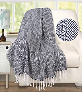 Ramanta Home 100% Cotton Farmhouse Chevron Blanket Throw with Knotted Fringes for Chair, Couch, Picnic, Camping, Beach, Everyday Use, Super Soft and Excellent Handfeel - 50 x 60 inches, Navy