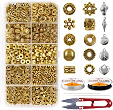 Spacer Bead 600PCS 10 Style Antique Gold Jewelry Bead Charm Spacers Alloy Spacer Beads Kit Jewelry Findings Accessories with 2 Crystal String Bracelet Charm for DIY Bracelet Necklace Jewelry Making