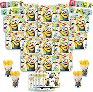 B-THERE Despicable Me Minion Party Pack Bundle - Despicable Me Minion Birthday Set, Seats 16: Plates, Cups, Napkins and Stickers. Childrens Party Supplies