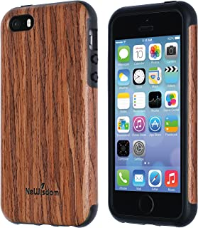 NeWisdom iPhone se Wood case, iPhone 5s 5 Case Wood, Soft Wooden Non Slip Slim Shock Proof Unique Designed TPU Silicon Cover - Sandalwood