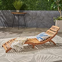 Christopher Knight Home 237520 Lisbon Wood Outdoor Chaise Lounge, Yellow/Brown