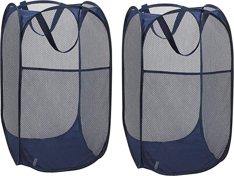 URBEST Collapsible Laundry Basket Mesh Popup Laundry Hamper Portable Durable Handles Perfect For Storage And Easy To Open Great For Kids Room College Dorm Or Travel 2 Dark Blue