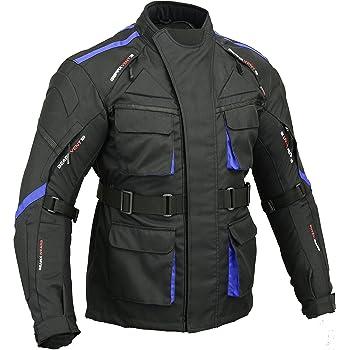 JET Blouson Veste Moto Homme Imperm/éable avec Armure Textile Aquatex EU 66-68 Blanc Bleu, 8XL