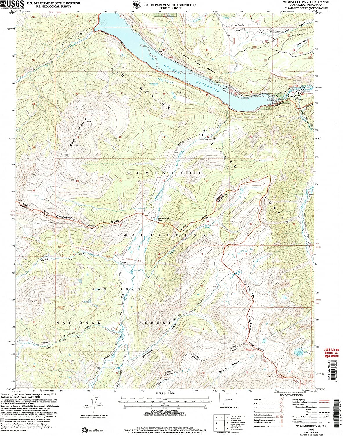 Weminuche Pass CO topo map, 1 24000 Scale, 7.5 X 7.5 Minute, Historical, 2001, Updated 2005, 26.8 x 22.1 in