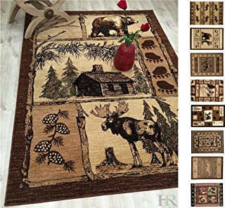 """HR-Cabin Rug–Lodge, Cabin Nature and Animals Area Rug–Modern Geometric Design Cabin Area Rug–Abstract, Multicolor Design– Moose/Bear/Lodge/Nature (3'8"""" x 5'1"""")"""