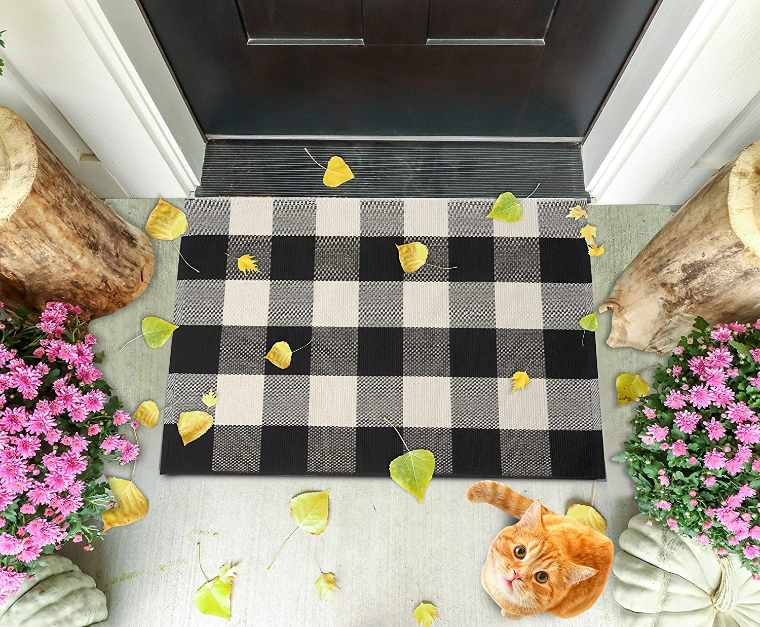 mart Buffalo Plaid Checkered Rug by - White Washabl SGallerie Direct stock discount Black