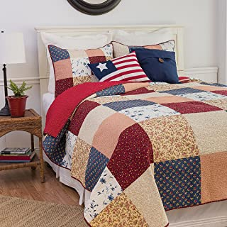 C&F Home Liberty 3 Piece Quilt Set All-Season Reversible Bedspread Oversized Bedding Coverlet, King Size, Red