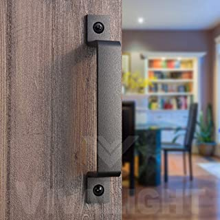 Barn Door Handle Black 8 inch Solid Steel Gate Handle Pull for Sliding Barn Doors Gates Garages Sheds