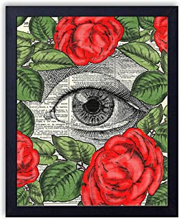 Eye In Red Roses Vintage Wall Art Upcycled Dictionary Art Print Poster 8x10 inches, Unframed