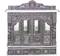 Home Pooja Wooden Mandir with White Oxidized Plated Puja Temple - Fully Assembled - 25 Inches with Doors