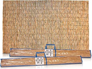 Hadar 5×20 Feet Bamboo Garden Fence Mat – Woven Whole Reed Cover Slat Rolled..