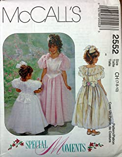 McCalls Sewing Pattern 2552 Girls Party Dress Flower Girl 1st Communion Size 7 to 10