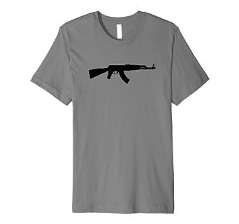 amazon com ak 47 rifle black silhouette shirt clothing
