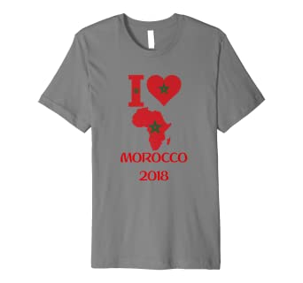 5c345519357 Image Unavailable. Image not available for. Color  PREMIUM I Love MOROCCO  Tshirt Soccer Tshirt Football Tee