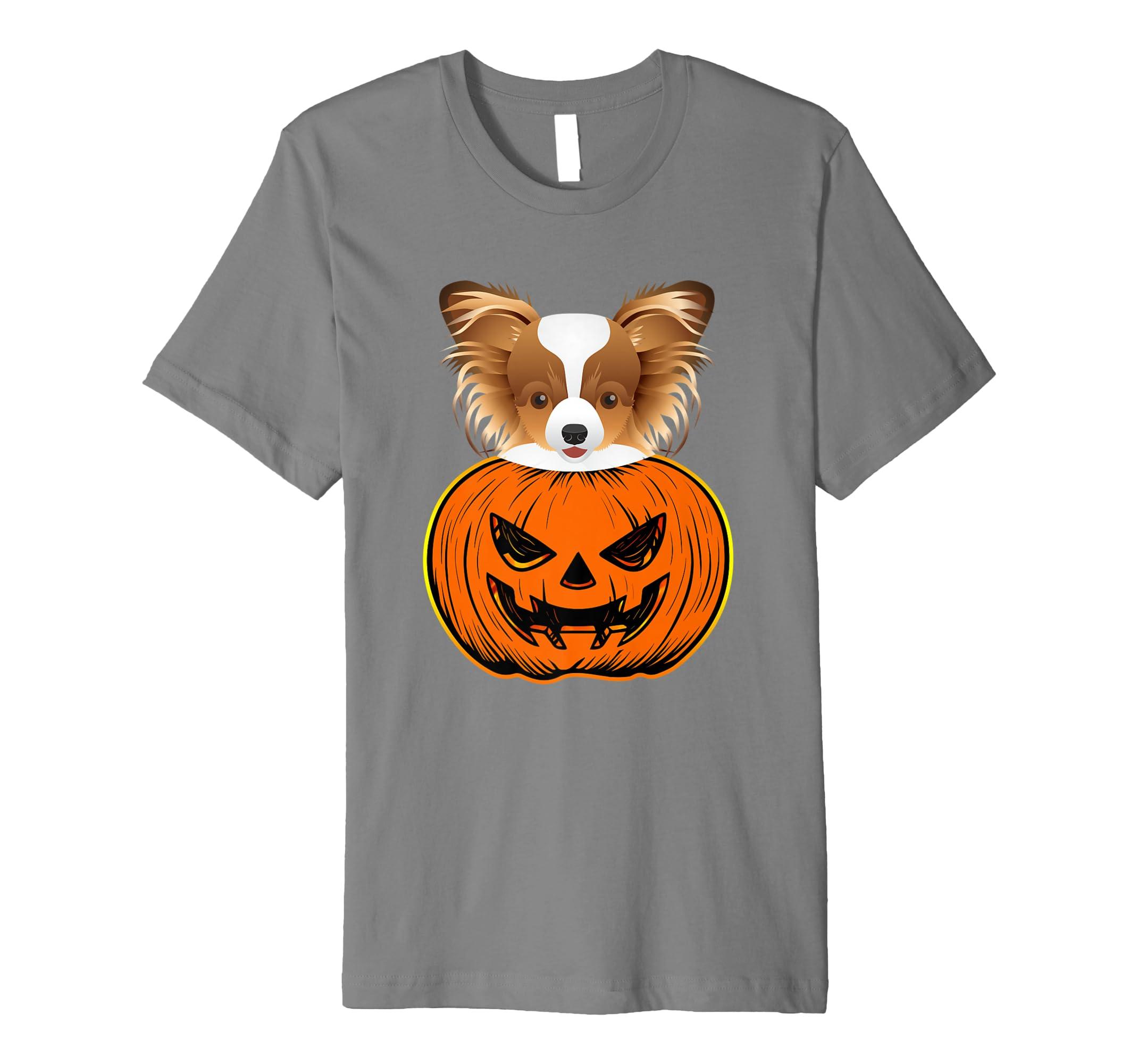 Amazon Papillon Halloween Tshirt Cute Pumpkin Dog Kid Costume