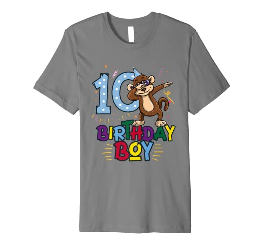 Funny Birthday Gift 10 Year Old Boy Dabbing Monkey T Shirt