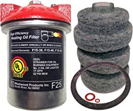 Westwood F25 High Efficiency Top Fuel Heating Oil Filter with Extra F15-48 Replacement Felt Element and Gaskets