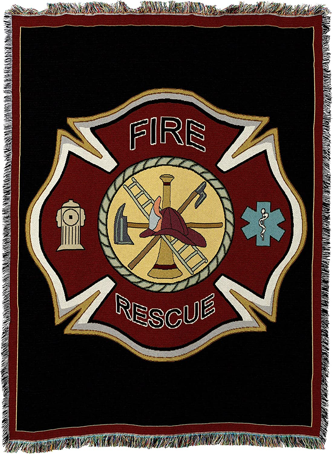 Pure Country Weavers   Firefighter Fireman Shield Woven Tapestry Throw Blanket with Fringe Cotton USA 72x54