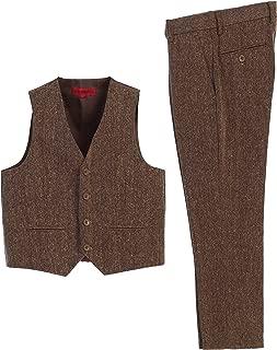 Gioberti Boy's 2 Piece Tweed Plaid Vest and Pants Set