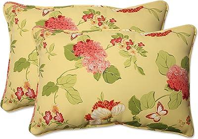 """Pillow Perfect Outdoor/Indoor Risa Lemonade Oversized Lumbar Pillows, 24.5"""" x 16.5"""", Gold, 2 Pack"""