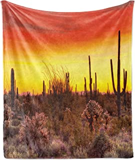 Lunarable Saguaro Soft Flannel Fleece Throw Blanket, Sun Rays Over Sonoran Desert at Sunset Brittle Bush Shrub Vibrant Col...