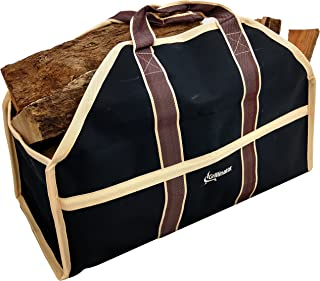 Grillinator Ultimate Firewood Log Carrier – Black – Heavy Duty Durable Tote..
