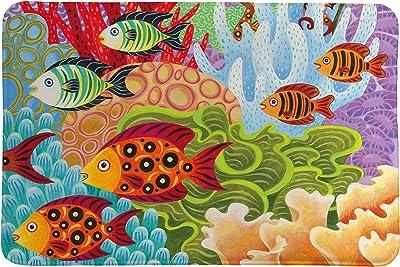 Laural Home Fish in The Hood Memory Foam Rug, Multi