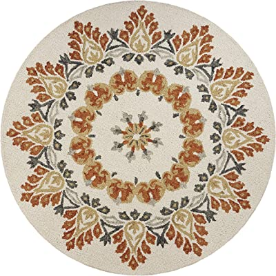 LR Home Autumn Medallion Area Rug, 6' Round, Cream/Rust