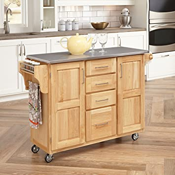 Home Styles 5086 95 Stainless Steel Top Kitchen Cart With Breakfast Bar Natural Finish Amazon Ca Home