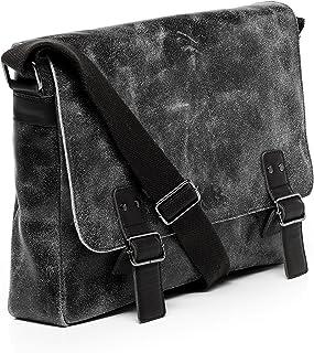 SID & VAIN Messenger Bag echt Leder Harvey   Vintage-Look   groß Laptoptasche 15 Zoll Laptop Umhängetasche Ledertasche Herren schwarz