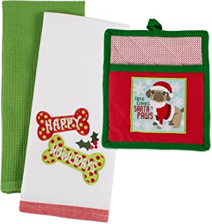 DII Pup Cotton Christmas Holiday Dish Towel and Pot Holder, Perfect for Kitchen Cooking and Baking, Puppy Gift Set, 2 Pieces
