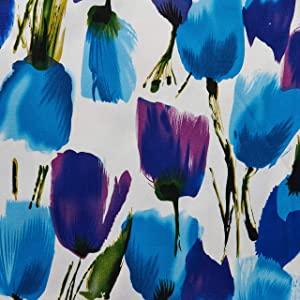 Telio Bloom Stretch Cotton Sateen Tulip White Blue Purple Blue/Purple, Fabric by the Yard