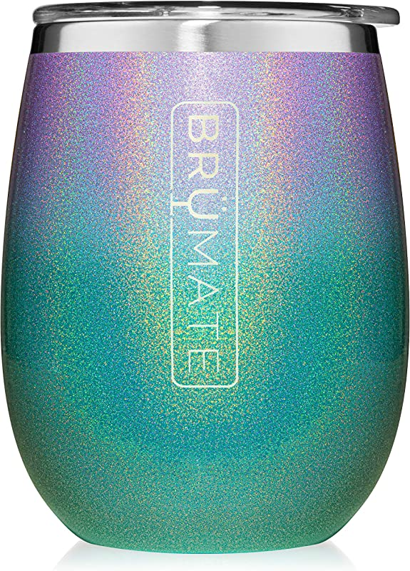 Br Mate Uncork D XL 14oz Wine Glass Tumbler With Splash Proof Lid Made With Vacuum Insulated Stainless Steel Glitter Mermaid