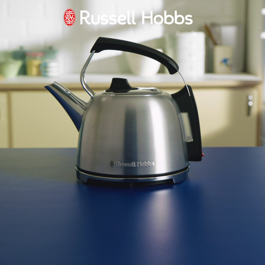 Russell Hobbs K65 Anniversary Electric Kettle Retro Cordless Energy Saving Kettle with Rapid Boil, 1.2 Litre, 3000 W, Stainless Steel