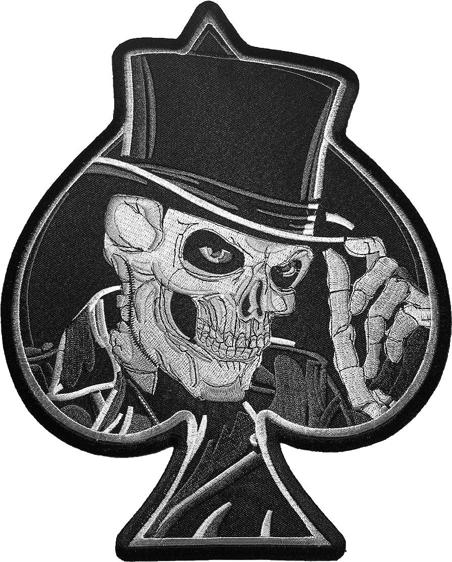 [Large Size] Papapatch Top Hat Skull Spades Card Biker Motorcycle Costume Jacket Vest DIY Embroidered Large Sew on Iron on Patch (IRON-TOP-HAT-SKULL-LARGE)
