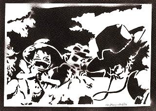 Poster One Piece Luffy Ace e Sabo Handmade Graffiti Street Art - Artwork