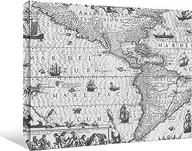 "JP London BWMCNV2010 2"" Thick Heavyweight Black & White Gallery Wrap Canvas Antique North America Map World Wallpaper, 24 ..."